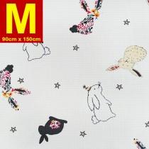 【嬅樺小舖】MIT台灣製 五層專業透氣防水墊 M號《機能款-彩花兔》防尿墊 隔尿墊 防水尿墊 尿布墊 看護墊 寵物墊 生理墊 產褥墊 露營野餐墊~
